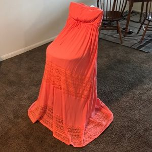 coral maxi dress with lace inserts from Torrid